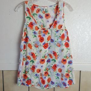 Joie 100% Silk floral sleeveless top Size L
